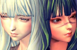 剑灵人女捏脸数据 阴阳双生姐妹人女捏脸数据